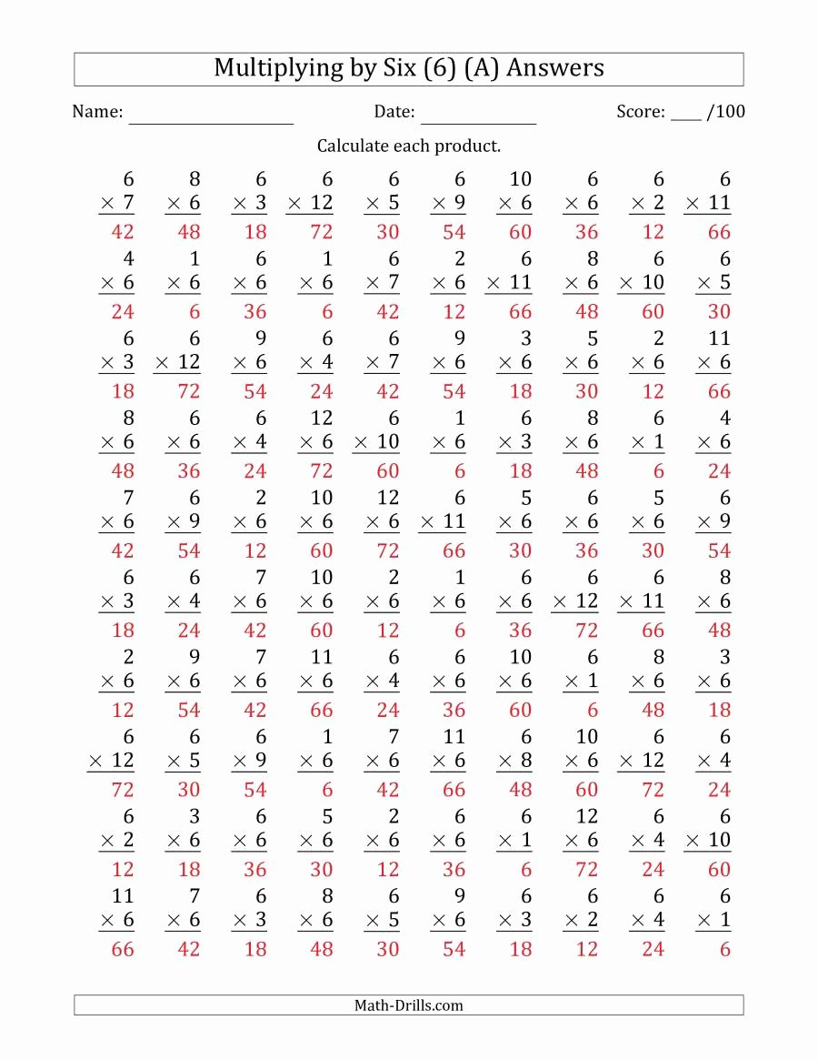 Multiplying by 6 Worksheet Fresh Multiplying 1 to 12 by 6 A