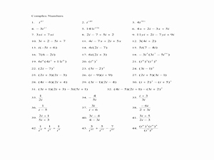 Multiplying Complex Numbers Worksheet Best Of Plex Numbers 9th 12th Grade Worksheet