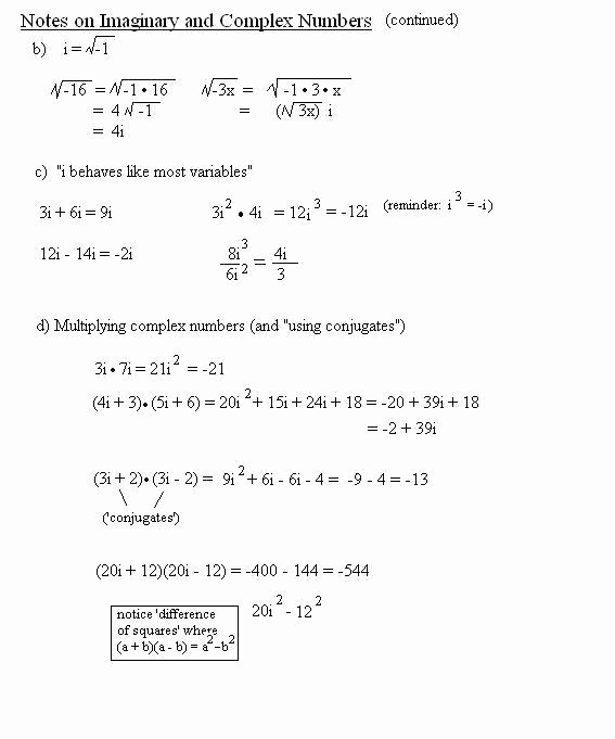 Multiplying Complex Numbers Worksheet Elegant Math Plane Imaginary and Plex Numbers