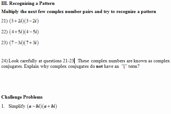 Multiplying Complex Numbers Worksheet Unique Multiply Plex Numbers Worksheet Pdf and Answer Key