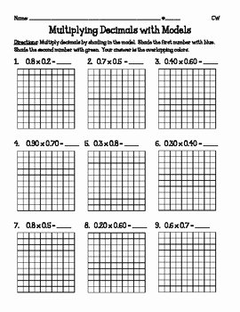 Multiplying Fractions area Model Worksheet Beautiful Multiplying Decimals with Models 5 Nbt7 by Catherine