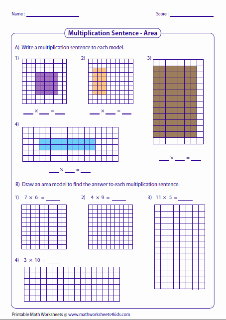 Multiplying Fractions area Model Worksheet Fresh Multiplication Models Worksheets