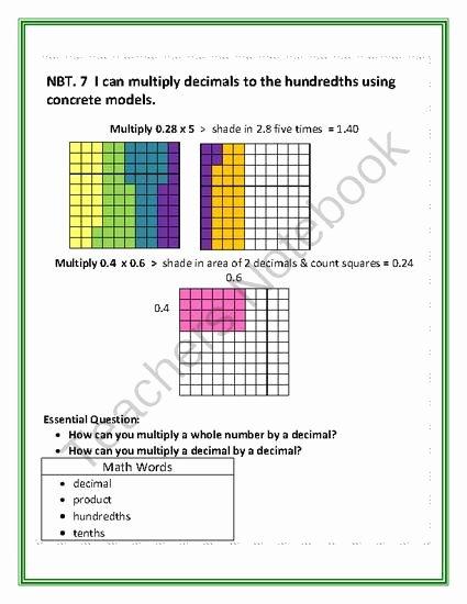 Multiplying Fractions area Model Worksheet Fresh Multiplying Decimals with Models From Tammyharold Ferguson