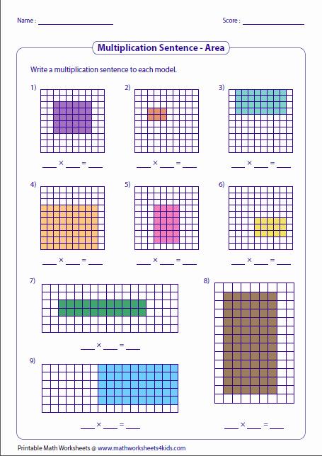Multiplying Fractions area Model Worksheet Lovely Multiplication Models Worksheets