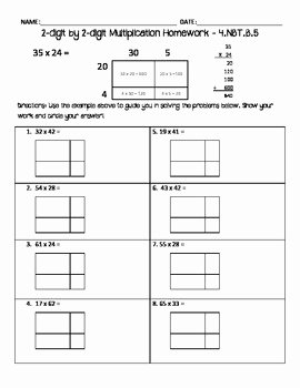 Multiplying Fractions area Model Worksheet New 2 Digit by 2 Digit Multiplication Homework area Model by