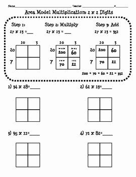 Multiplying Fractions area Model Worksheet Unique 4 Nbt 5 area Model Multiplication Worksheet 2 Digit X 2