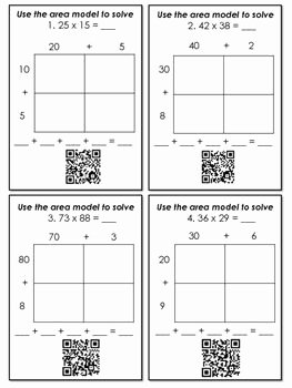 Multiplying Fractions area Model Worksheet Unique Multiplication with area Models and Partial Products Qr