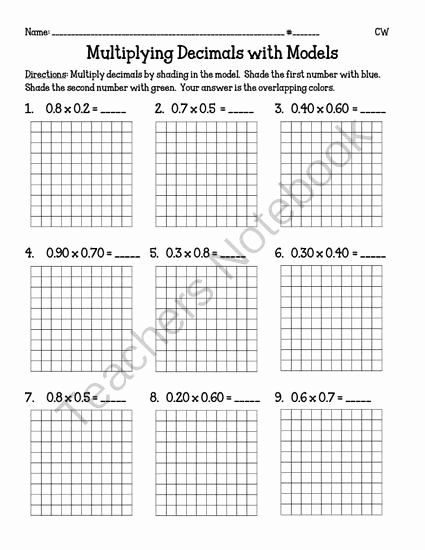 Multiplying Fractions Using Models Worksheet Awesome Multiplying Decimals with Models 5 Nbt7 From Miss