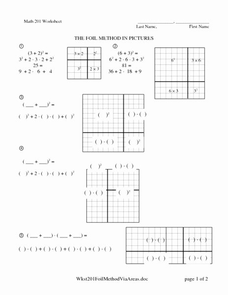 Multiplying Fractions Using Models Worksheet Beautiful Foil Method Using the area Model Worksheet for 9th 11th