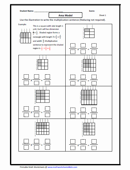 Multiplying Fractions Using Models Worksheet Best Of Fraction Multiplication area Model