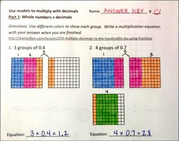 Multiplying Fractions Using Models Worksheet Fresh Using Models to Multiply with Decimals