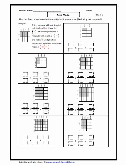 Multiplying Fractions Using Models Worksheet Inspirational Fraction Multiplication area Model