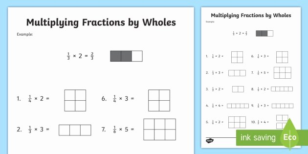 Multiplying Fractions Using Models Worksheet Unique Multiplying Fractions by whole Numbers with Visual Support