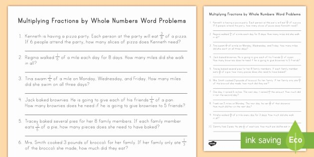 Multiplying Fractions Word Problems Worksheet Inspirational Multiplying Fractions by whole Numbers Word Problems