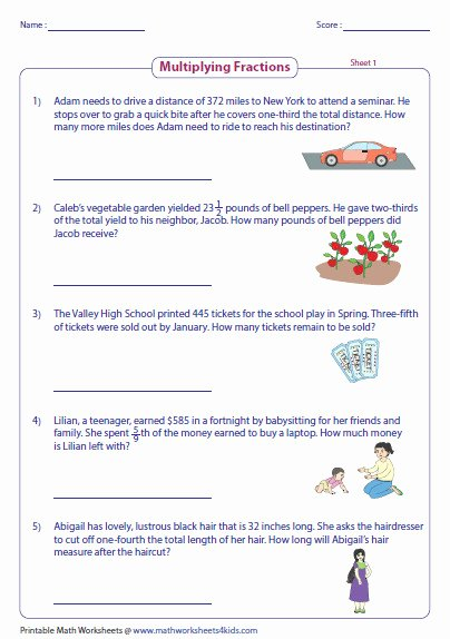 Multiplying Fractions Word Problems Worksheet New Multiplying Fractions Worksheets