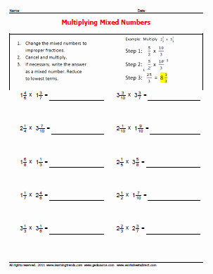 Multiplying Mixed Numbers Worksheet Beautiful Multiplying whole Numbers and Improper Fractions to Mixed