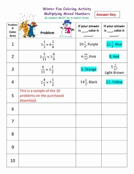 Multiplying Mixed Numbers Worksheet Best Of Multiplying Mixed Numbers Fractions Winter Coloring