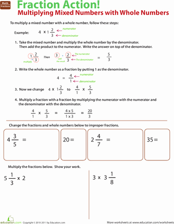 Multiplying Mixed Numbers Worksheet Inspirational Fraction Action