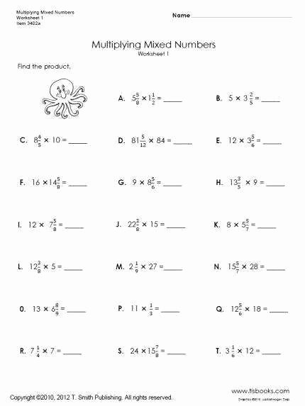 Multiplying Mixed Numbers Worksheet Inspirational Mixed Numbers Worksheets