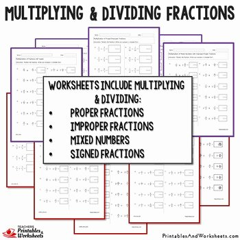 Multiplying Mixed Numbers Worksheet Inspirational Multiplying and Dividing Fractions Worksheets Includes