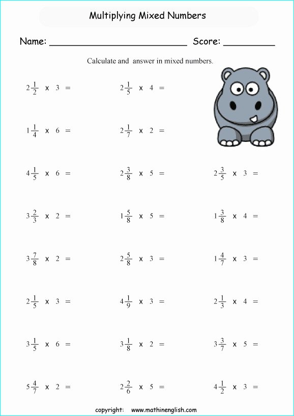 Multiplying Mixed Numbers Worksheet Lovely Mixed Numbers Worksheets
