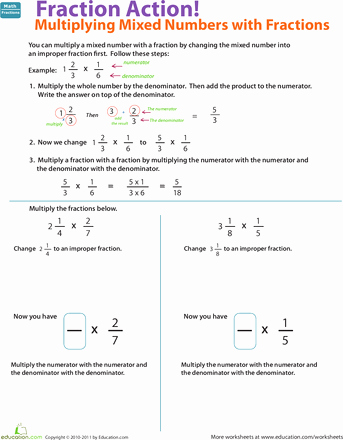 Multiplying Mixed Numbers Worksheet Luxury Multiply Mixed Numbers with Fractions