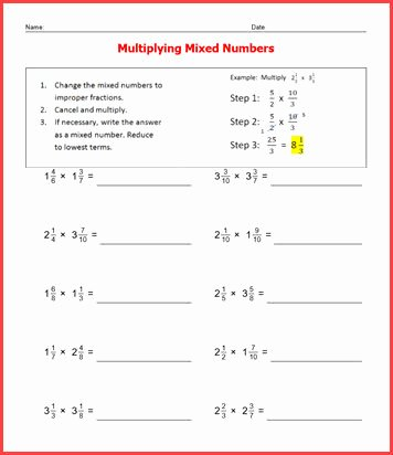 Multiplying Mixed Numbers Worksheet New Basic Facts Fractions Worksheets Worksheetsdirect