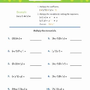 Multiplying Monomials Worksheet Answers Beautiful Multiplying Monomials Worksheets