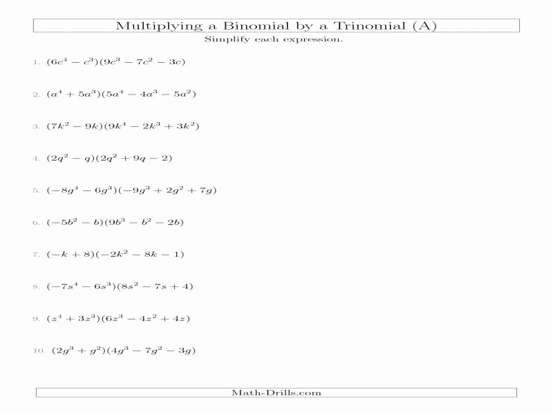 Multiplying Monomials Worksheet Answers Elegant Factoring Polynomials Worksheet with Answers Algebra 2