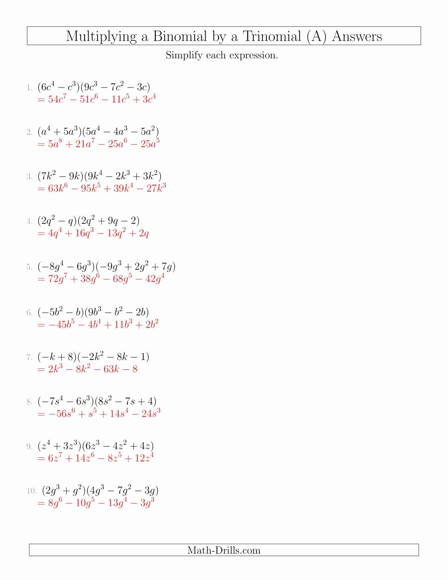 Multiplying Monomials Worksheet Answers Elegant Multiplying A Binomial by A Trinomial A