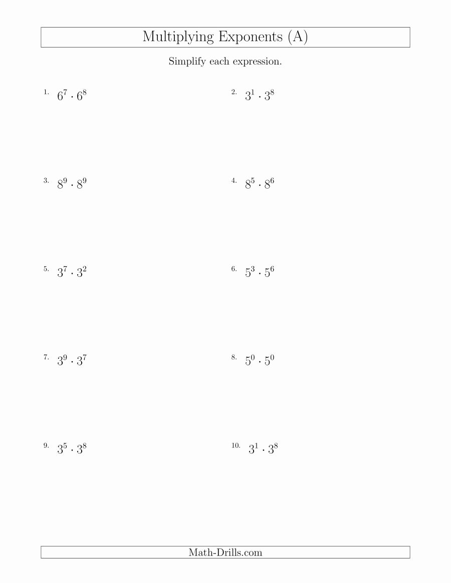 Multiplying Monomials Worksheet Answers Inspirational Multiplying Exponents All Positive A