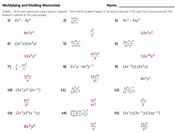 Multiplying Monomials Worksheet Answers Unique Color by Number Multiplying and Dividing Monomials by Dr