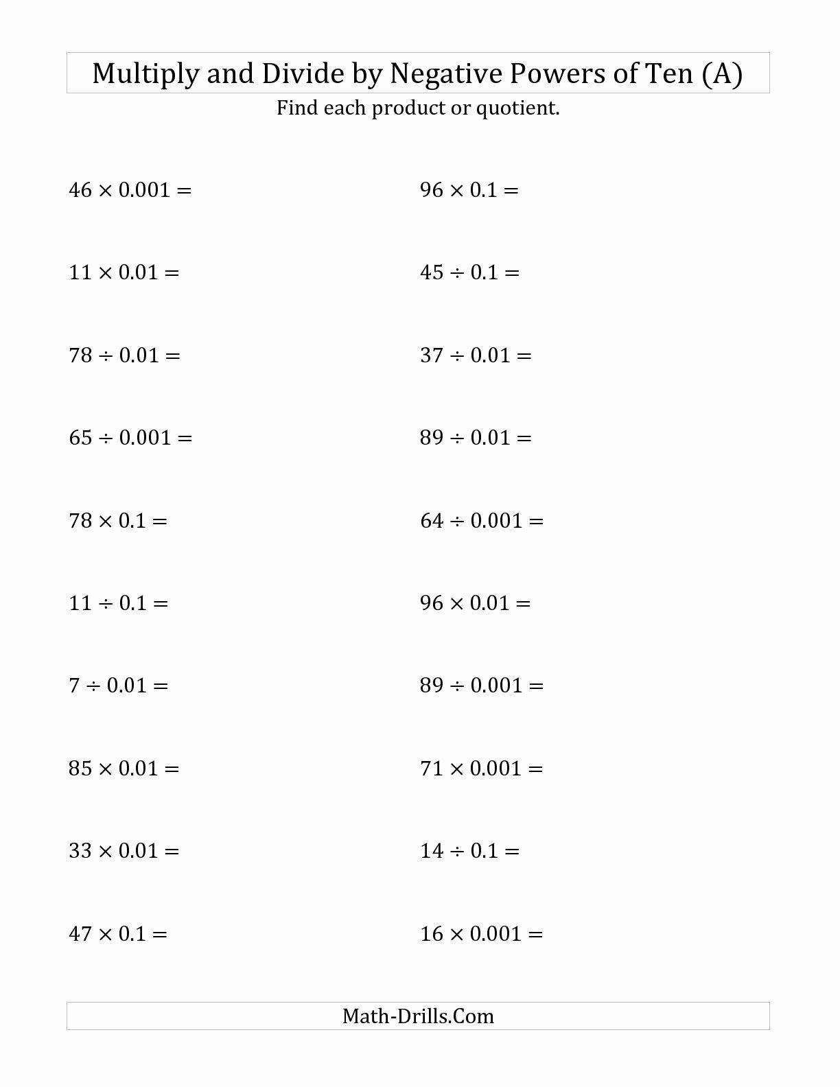 Multiplying Negative Numbers Worksheet Best Of 12 Best Of Multiplication Negative Numbers