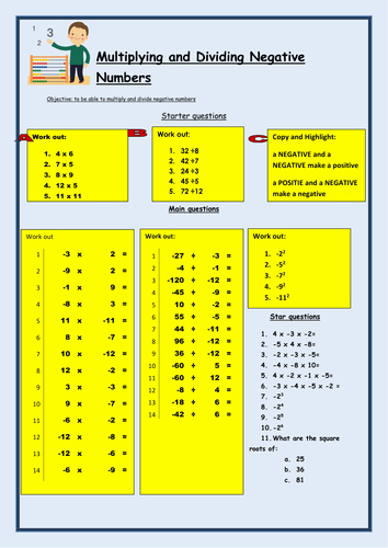 Multiplying Negative Numbers Worksheet Fresh Ks3 Multiply and Dividing by Negative Numbers by Bcooper87