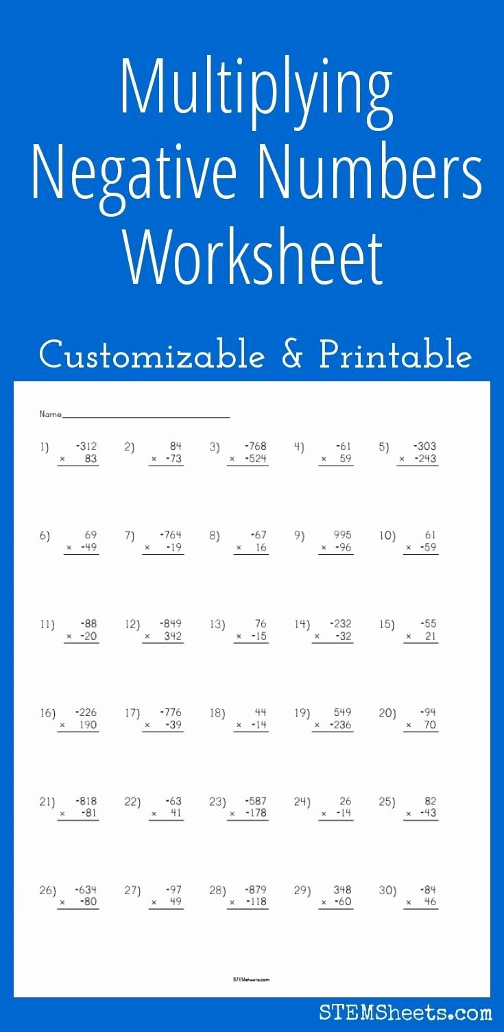 Multiplying Negative Numbers Worksheet Inspirational Multiplying Negative Numbers Worksheet Customizable and