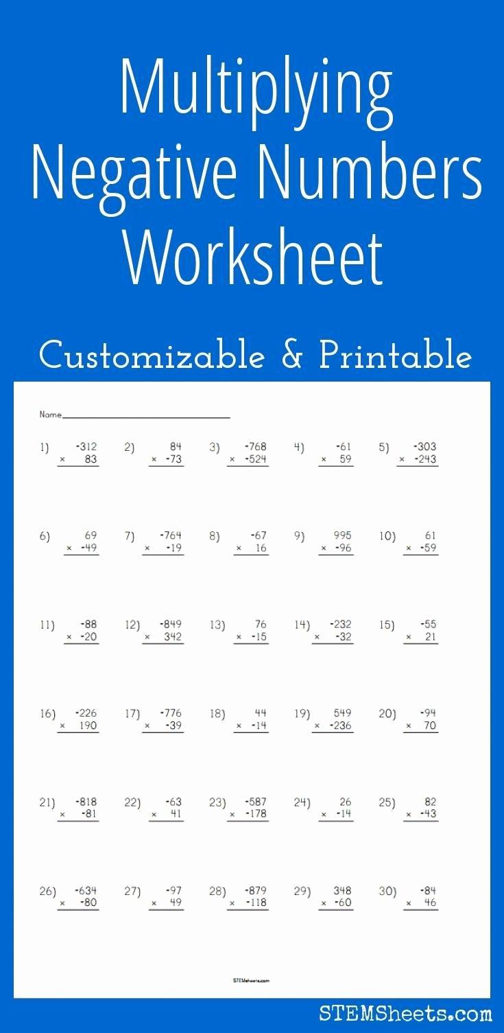 Multiplying Negative Numbers Worksheet Unique 25 Best Ideas About Negative Numbers Worksheet On