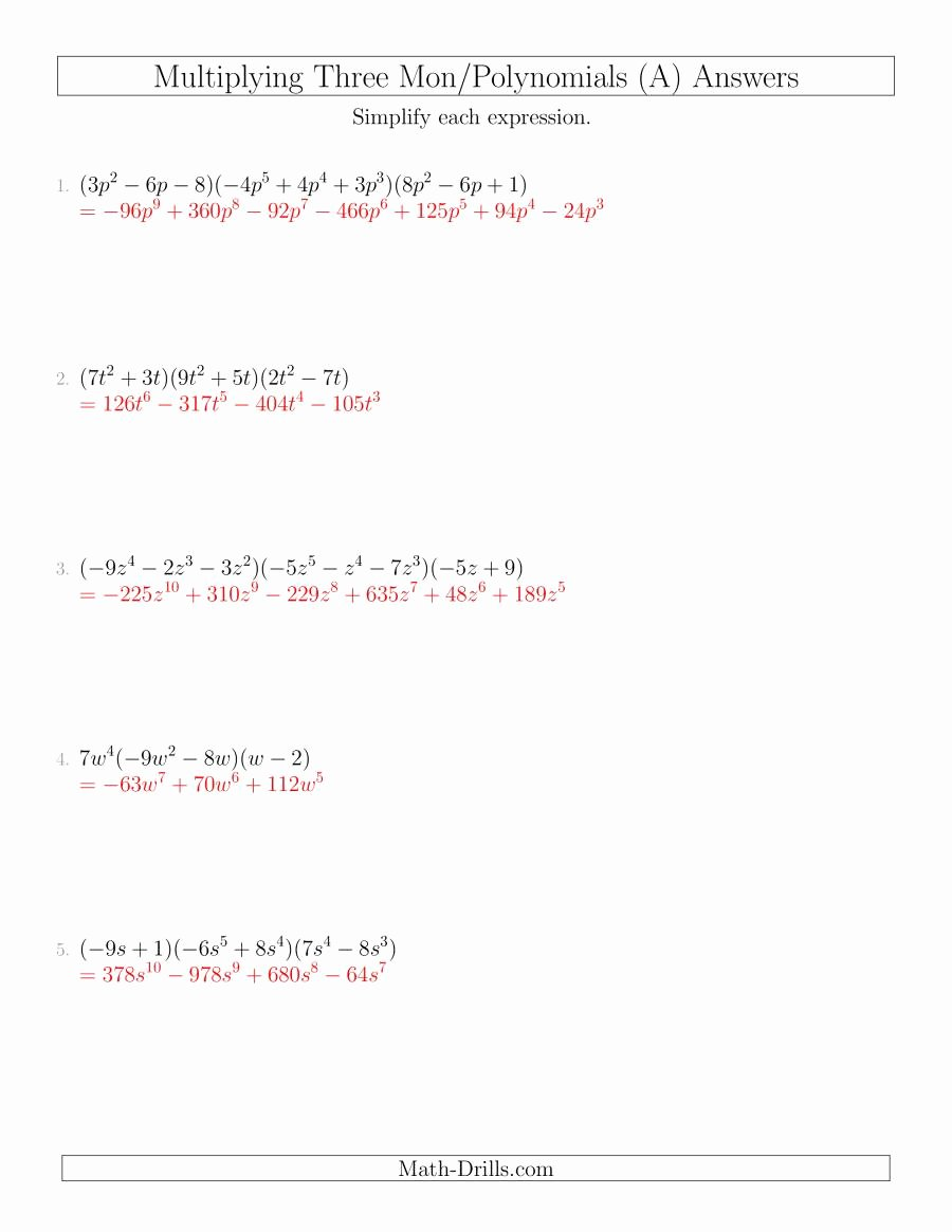 Multiplying Polynomials Worksheet 1 Answers Awesome Multiplying Monomials and Polynomials with Three Factors A