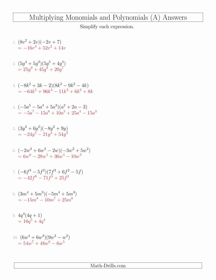 Multiplying Polynomials Worksheet 1 Answers Awesome Multiplying Monomials and Polynomials with Two Factors