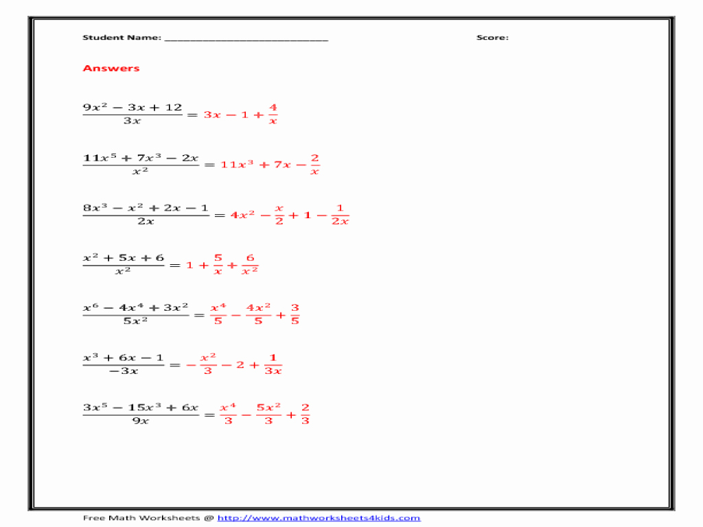 Multiplying Polynomials Worksheet 1 Answers Elegant Dividing Polynomials by Monomials Worksheet