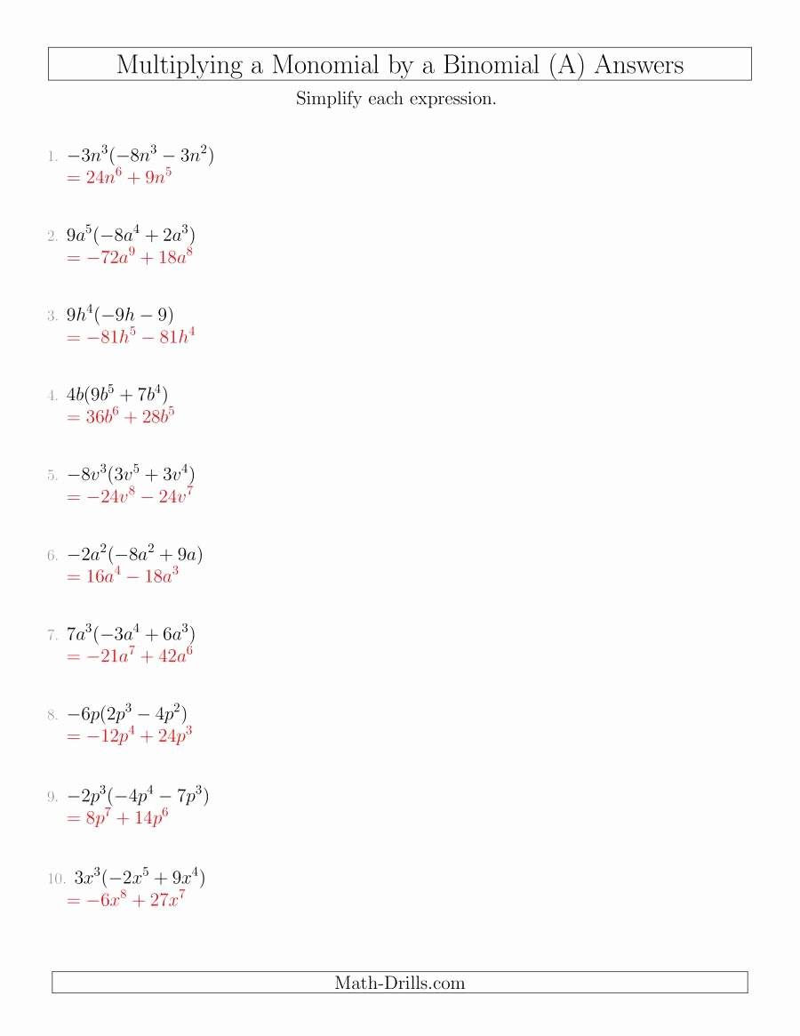 Multiplying Polynomials Worksheet 1 Answers Inspirational Multiplying A Monomial by A Binomial A