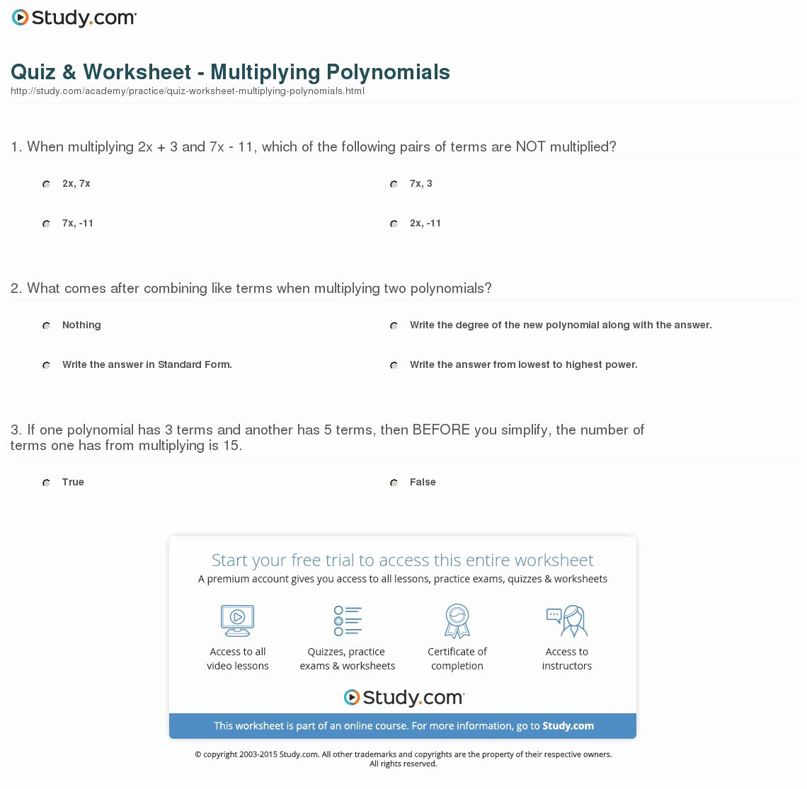 Multiplying Polynomials Worksheet 1 Answers Luxury Quiz & Worksheet Multiplying Polynomials