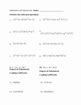 Multiplying Polynomials Worksheet 1 Answers Unique Basic Operations with Polynomials Worksheet