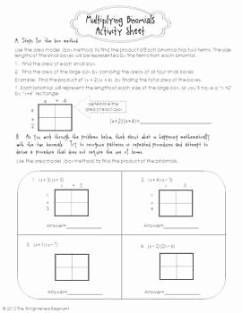 Multiplying Polynomials Worksheet 1 Answers Unique Free Multiply Binomials Activity Sheet