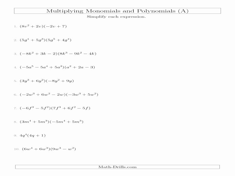 Multiplying Polynomials Worksheet Answers Elegant Algebra with Pizzazz Worksheet Answers Free Printable