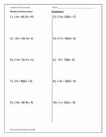 Multiplying Polynomials Worksheet Answers Elegant Multiplying Monomials Worksheet