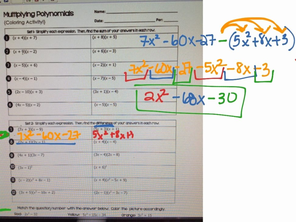Multiplying Polynomials Worksheet Answers Fresh Polynomials Worksheets with Answers and Operations