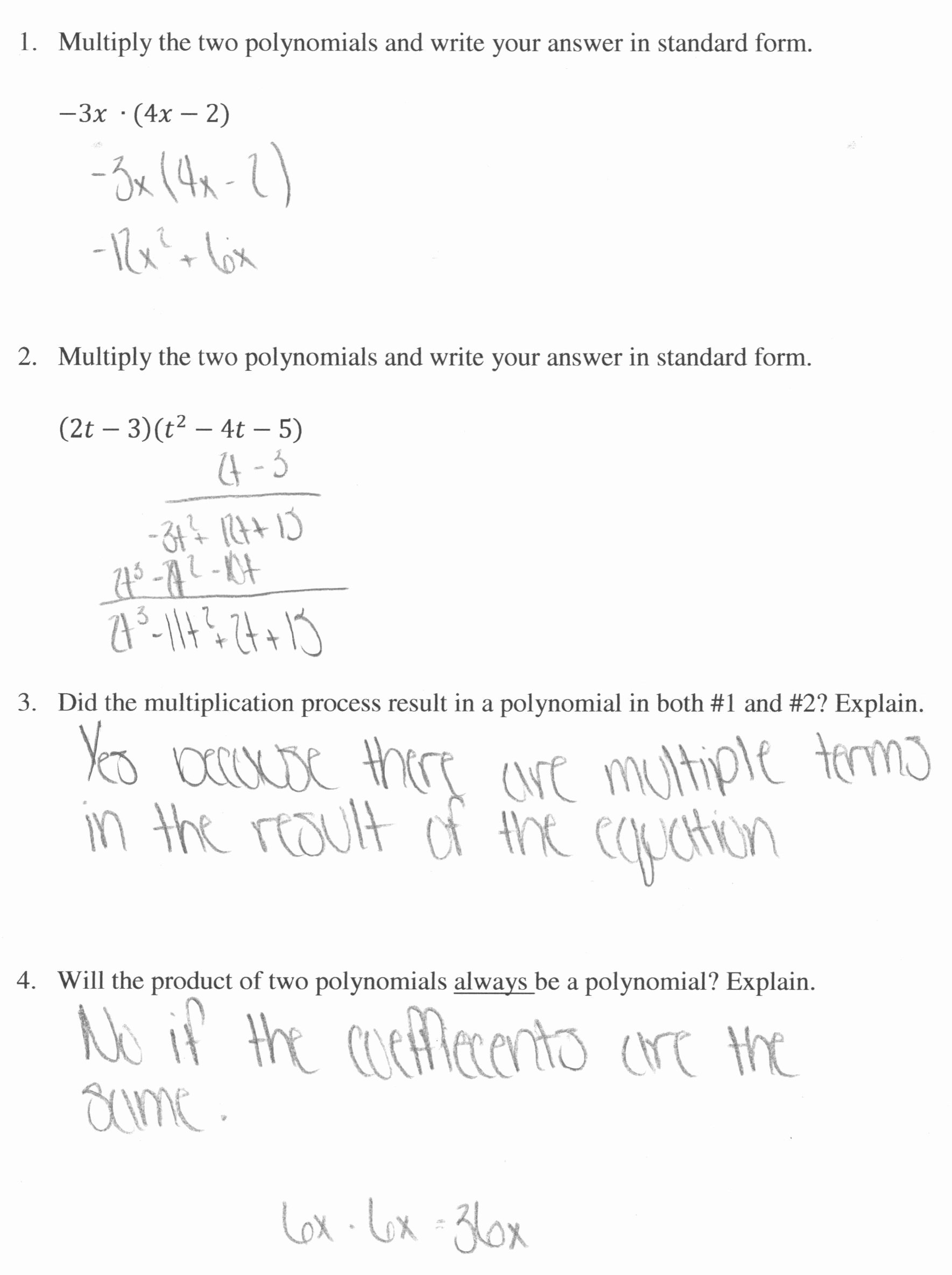 Multiplying Polynomials Worksheet Answers Lovely Multiplying Polynomials 1