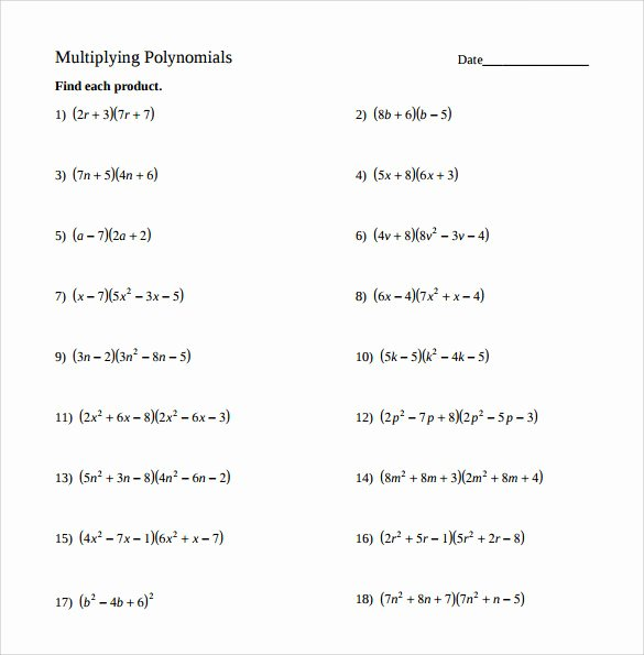 Multiplying Polynomials Worksheet Answers Lovely Sample Algebraic Multiplication Worksheet 10 Documents