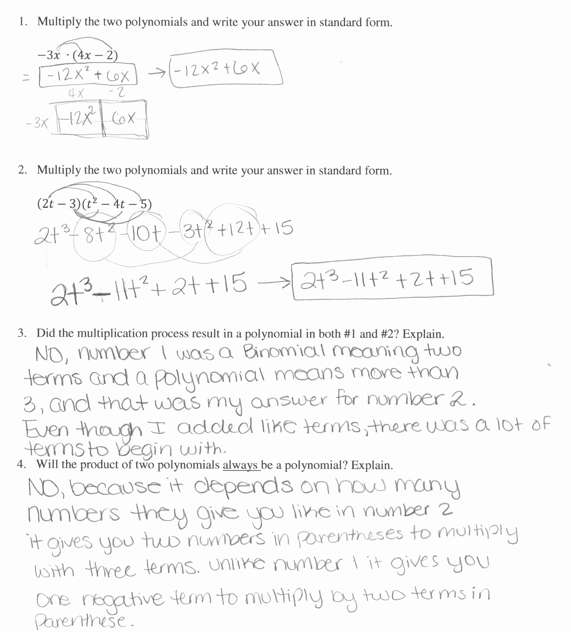 Multiplying Polynomials Worksheet Answers Unique Multiplying Polynomials 1
