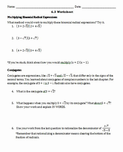 Multiplying Radical Expressions Worksheet Awesome Math Jamboree Radicals Worksheet